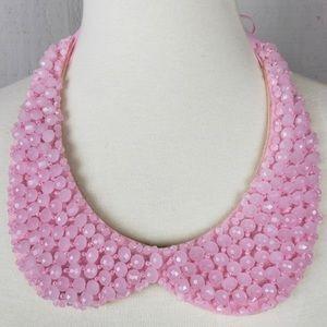 Tasha pink crystal collard necklace